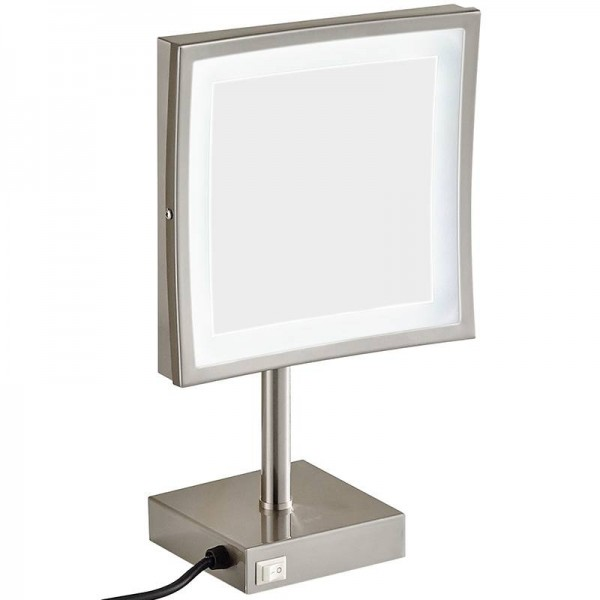 Lighted Vanity Tabletop Makeup Mirrors-Professional Adjustable Countertop Makeup Mirror with LED lights and Magnifying 3X