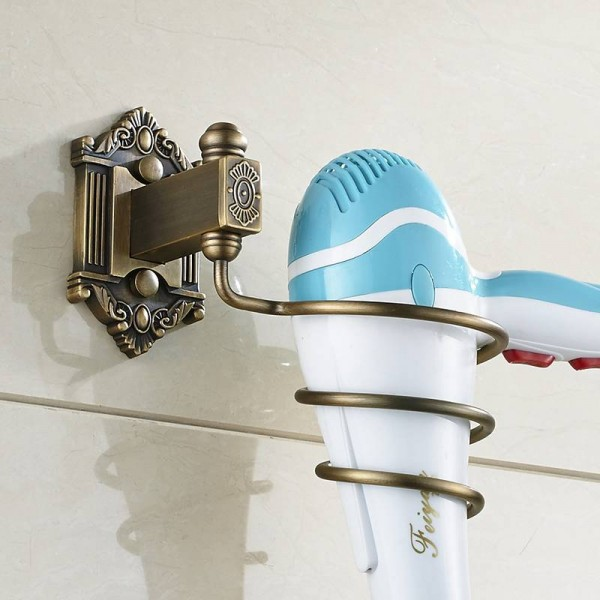 Hair Dryer Holder Rack Solid Brass Wall Shelf Hair Drier Storage Bathroom Fittings Antique Spring Hair Blower Holder LAD-71213