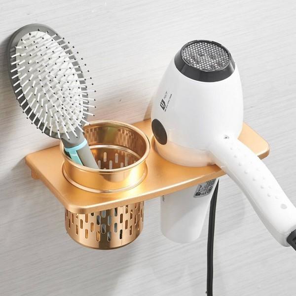 Hair Dryer Holder With Cup Households Rack Hair Blow Dryer Shelf Metal Wall Mount Bathroom Accessories Hair Dryer Rack 811017