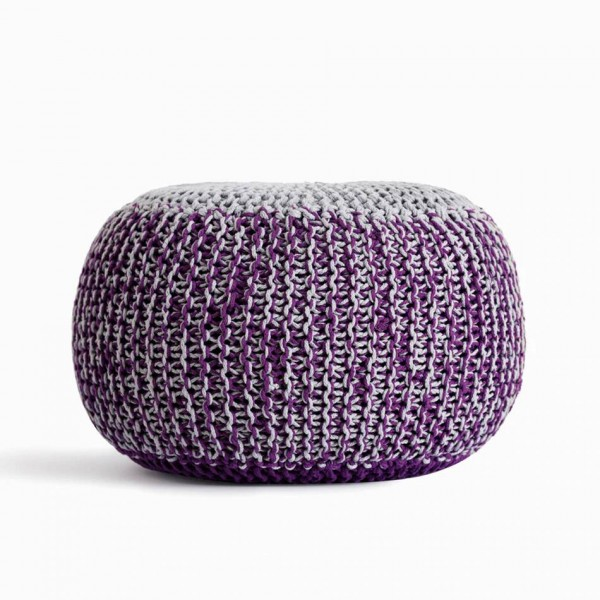 Hand-Knitted Ottoman Pouf Comfortable Footrest & Stool Hand Knit Floor Footstool Pouf for Living Room, Bedroom and Under Desk