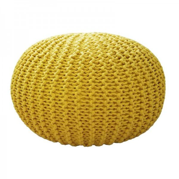 Handmade Comfortable Ottoman & Footrest For Living Room Home Decorative Seating Bean Bag Modern Knitted Ottoman Round Floor Seat