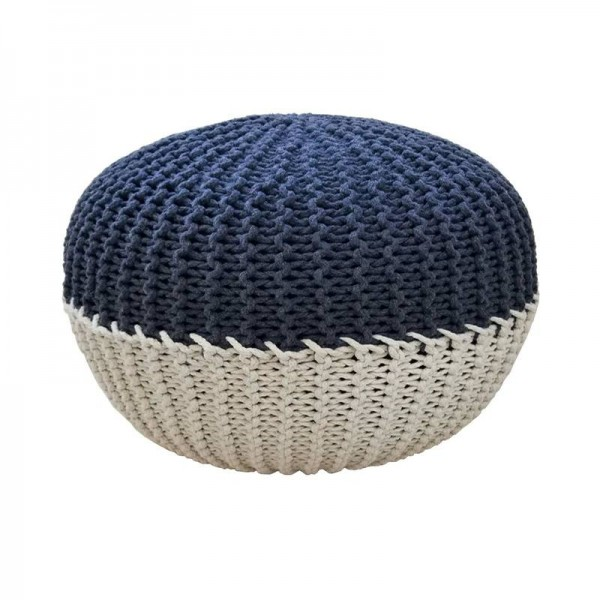 Handmade Stitch Round Floor Pouf - Cotton Cord Wrapped Ottoman Footstool Home Decorative Seating Bean Bag Stool Ottoman Footrest