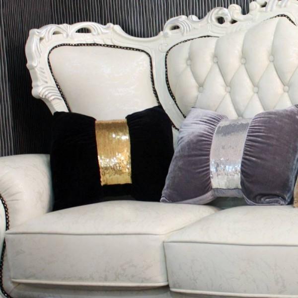 HAO JOY Creative Super Luxury Sequins Belt Gold Velvet Fabric Bow-knot Design Cushion Sofa Bed Home Model Room Decor