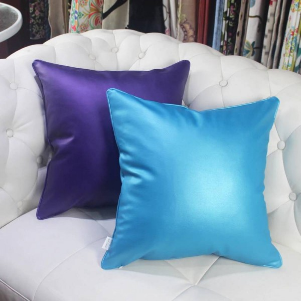 HAO JOY Europe Luxury Glossy Soft Faux Leather Cushion Cover Import Fabric Home Decor Square Colors Pillow Case