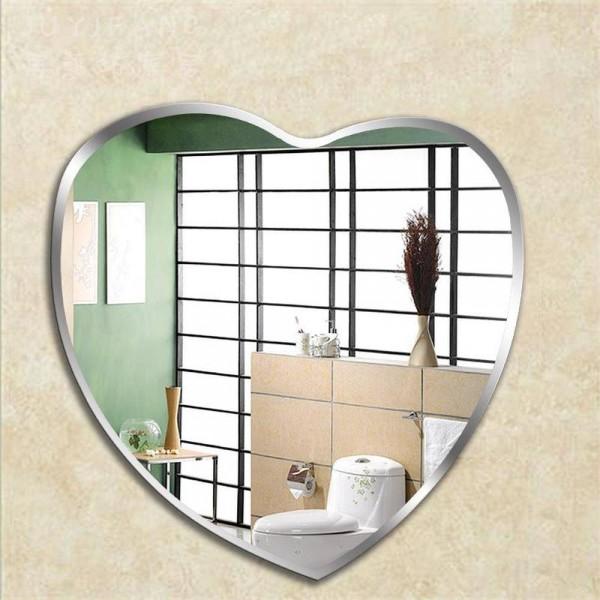 Heart-shaped bathroom mirror bathroom makeup mirror wall hanging mirror wall toilet decorative mirror wx8221945