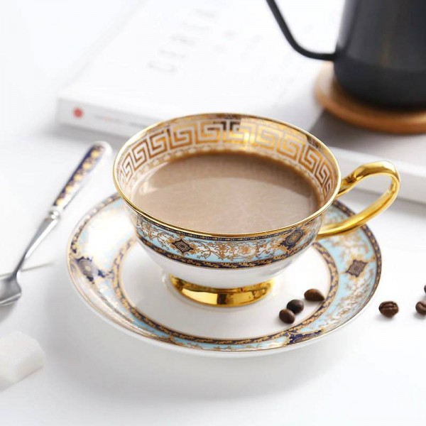 High-grade Bone Coffee Cup Hand-painted Gold-rimmed European Cup Saucer Set English Flower Tea Afternoon Tea Cup Gifts