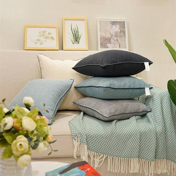 High Quality Solid Cushion Cover Cotton Linen Pillow Cover Pure Car Cover Throw Pillows Cojines Decorativos Para Sofa Festival