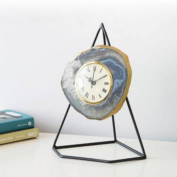 Home Decor Stone Crafts Figurine Art Design Clock Metal Shelf Natural Stone Luxury Agate Art