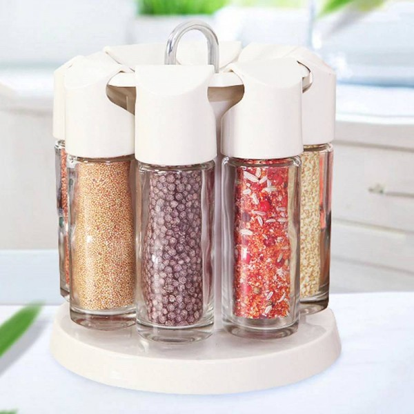 Home kitchen tools 8pcs/set spice jar combination Spices and pepper shakers Creative Rotary Glass Flavor Bottle Set