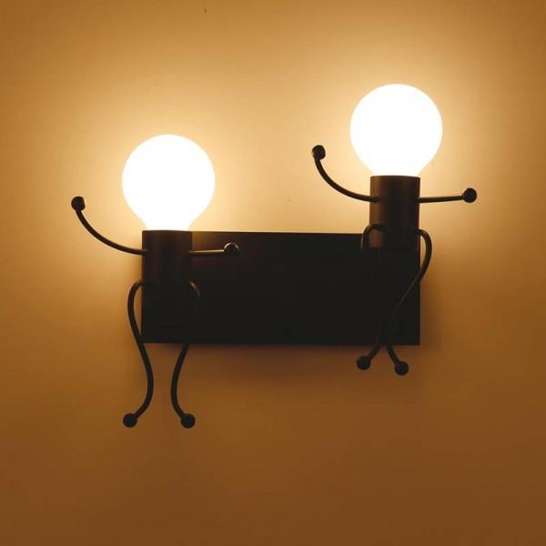 Indoor Decoration Vintage Creative Man Shape Wall Lamp Cute Light double head Sconce E27 led lamp AC 85-240V Wall Light
