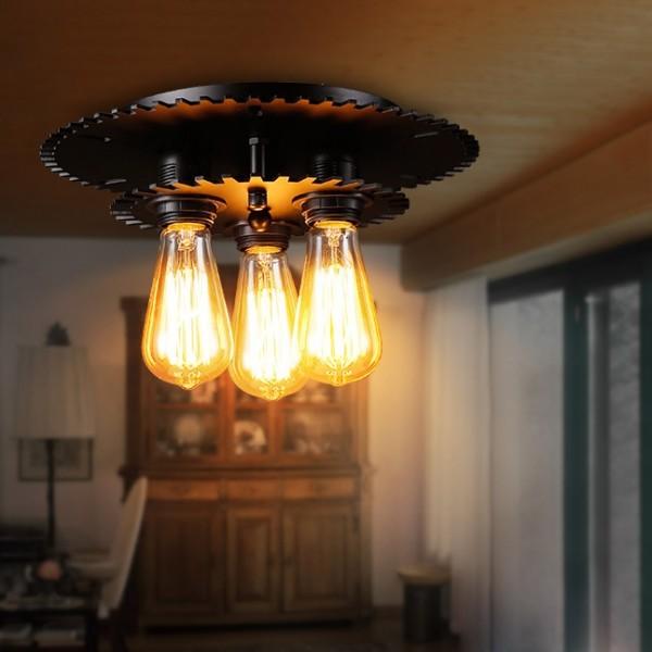 Industrial 3-Light Black Gear Metal Semi Flush Mount Ceiling Light & Exposed Bulb