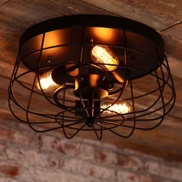 Industrial Loft Metal Cage Three Exposed Bulbs Semi Flush Mount 3-Light Ceiling Light in Black Finish
