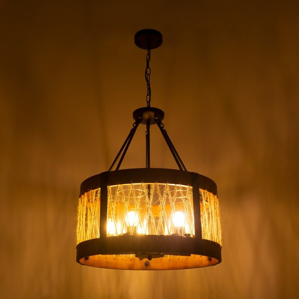Industrial Round 5-Light Chandelier Farmhouse Wood Chandelier with Clear Glass Shade Black Metal & Hemp Rope