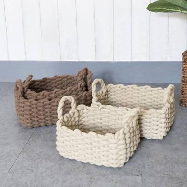 Ins Nordic Style Home Storage Basket Cotton Rope Debris Sorting Basket Soft Home Hand Basket Shooting Basket
