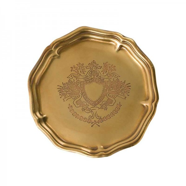 InsFashion high-end round handmade multiple use 6pcs brass tray set for luxury european american style home decor