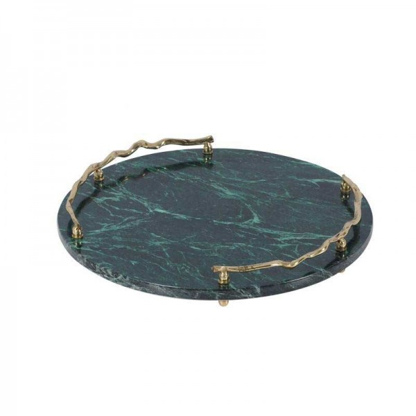 InsFashion luxury round green marble tray with crooked brass handle for super high-class five-star hotel decor