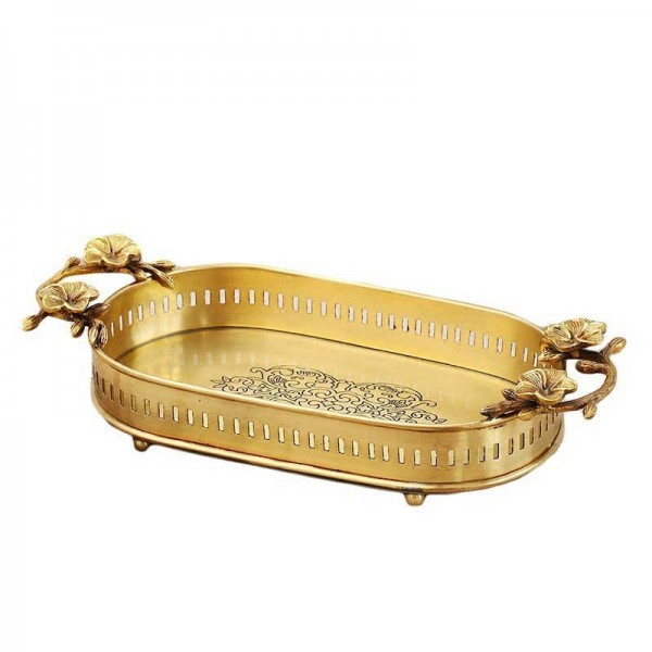 InsFashion super luxury handmade brass tray with flower handles and feet for five-star hotels and restaurants decor
