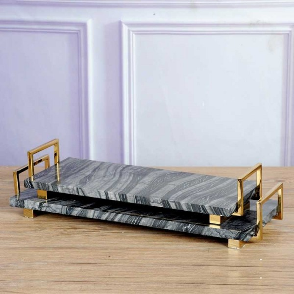 InsFashion super top marble serving tray with brass handle for modern european style home decor and storage tray