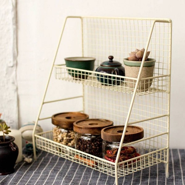 Iron Double Layers Table Storage Shelf Nordic Scandinavia Sundries Plant Metal Kitchen Storage Basket Organizer Home Decor