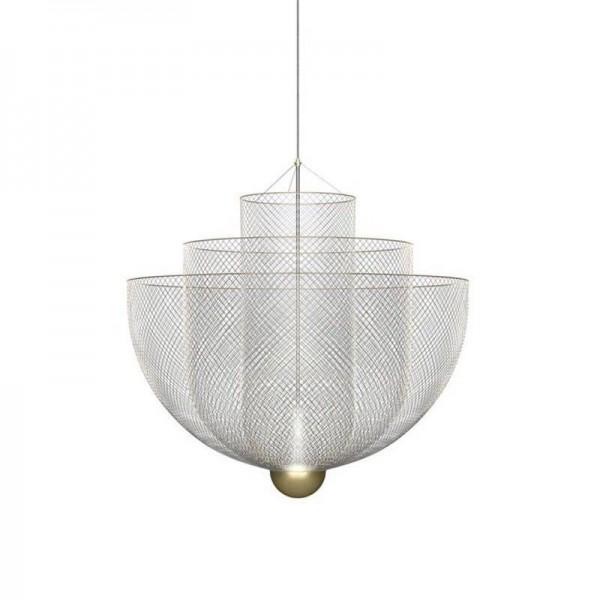 Italy Post modern simple Light luxury Pendant lights Silver Metal net lampshade foyer bedroom restaurant droplight LED Lighting