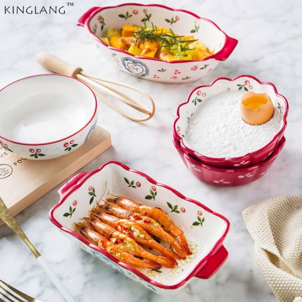 Japanese Cherry Roast 5 Piece Set Baking Tool Plate Bowl Set