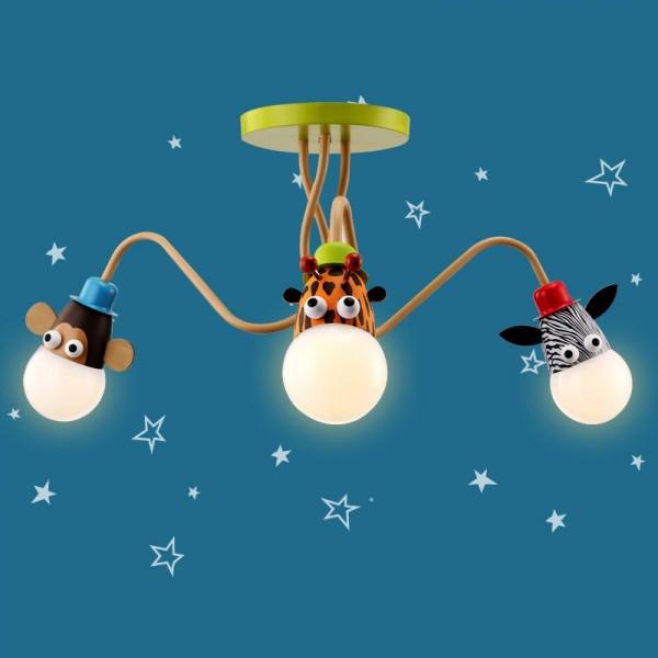 Joy Modern Multicolor 3-Light Semi Flush Mount Lighting Ceiling Lamp for Kids Place