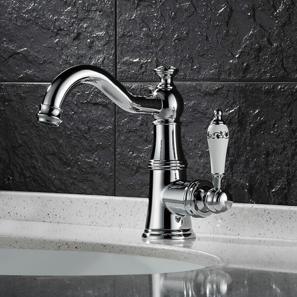 Karon Classic 1-Hole White Single Porcelain Lever Victorian Style Bathroom Sink Faucet in Polished Chrome Solid Brass