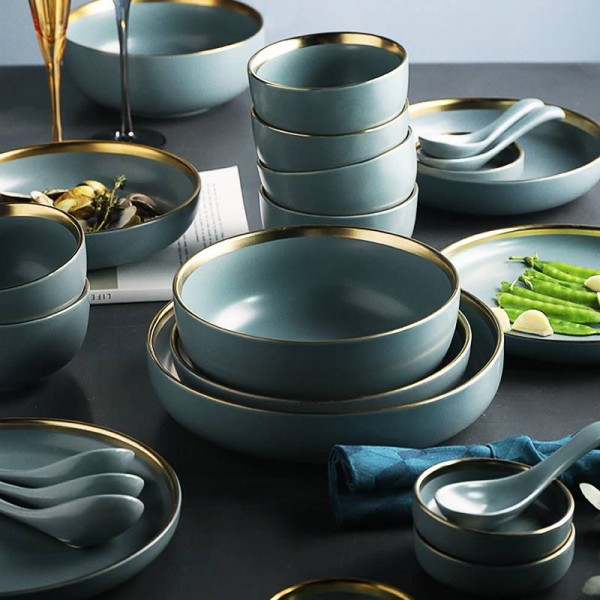 KINGLANG 2 or 4 or 6 person set Golden edge plates Ceramic Dinnerware Set NEW Blue Golden Ceramic Tableware Set