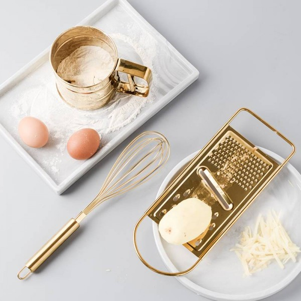 Kitchen Baking Tool Set Golden Stainless Steel Egg Beater Sifter Sieve Powder Cup