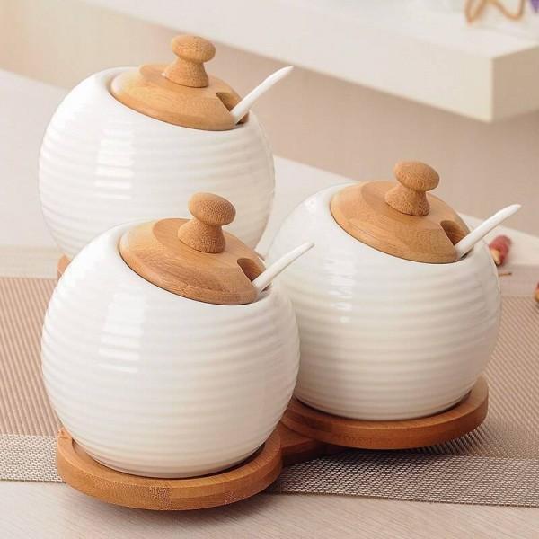 Kitchen Creative Ceramic Spice Jar 3 piece/set Simple Spice Jar Set Condiment Jar Salt Jar Condiment Bottle Set