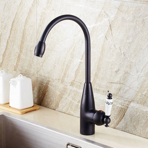 Kitchen Faucets Brass Black Bathroom Faucet For Basin Single Handle Rotate High Spout Deck Sink Hot and Cold Mixers Tap SY-051R
