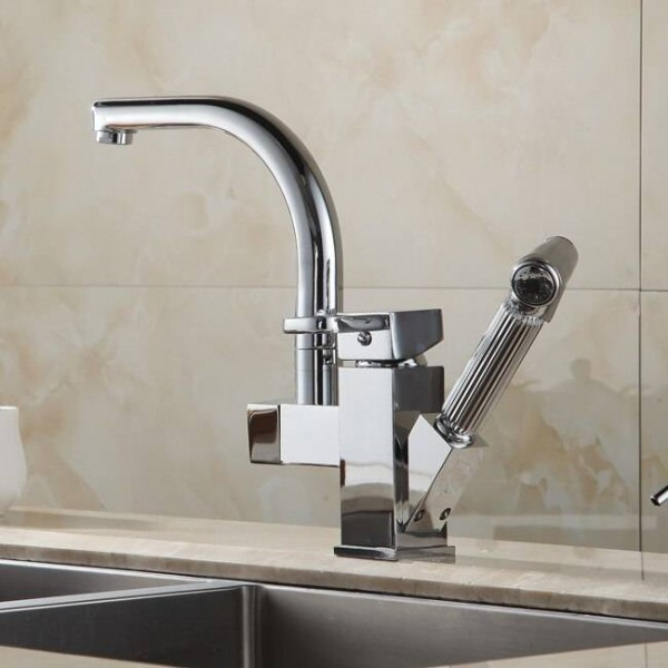 Kitchen Faucets Brass Chrome Kitchen Sink Faucet Pull Out Sprayer Swivel Spout Single Lever Deck Mount Vanity Mixer Taps HJ-8019