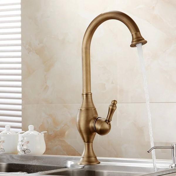 Kitchen Faucets Brass Deck Kitchen Sink Faucet Tall Rotate Spout Single Lever Hole Mixer Water Mixer Tap Torneira Cozinha