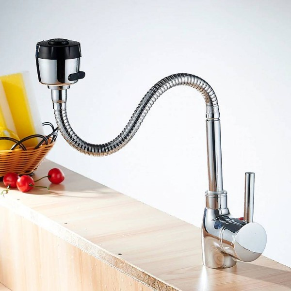 Kitchen Faucets Silver Single Handle Kitchen Mixer Cold and Hot Kitchen Tap Single Hole Water Tap torneira cozin Crane YC-CF2086