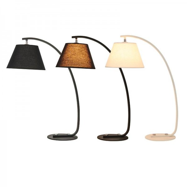 Kung Simple modern style desk lamp Nordic creative table light black white body fabric lampshade E27 lamp 3W white