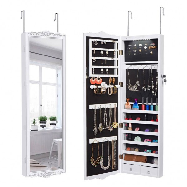 Full-Length Lockable Wall-Mounted Over-the-Door Hanging Jewelry Cabinet Armoire with LED Lights 3 Adjustable Heights