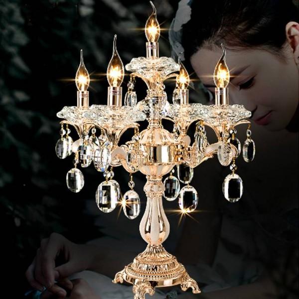 Large 5-arm wedding crystal candlestick led candelabra Restaurant gold table lamp candle holders lighting desk light
