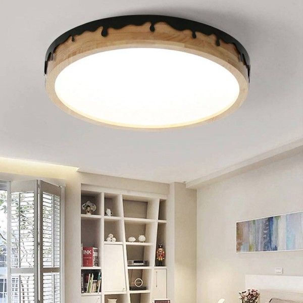 LED Round Ceiling Lights For Bedroom Dining Living Room Nordic Style Ceiling Mounted Lamp Wooden Kitchen Lighting Fixture