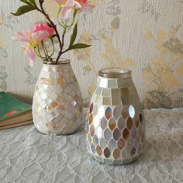 Light color mosaic glass vase fashion home office hydroponic vase