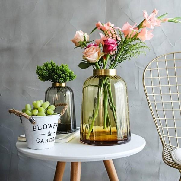 Light Luxury Copper Mouth Glass Vase Simple High-grade Living Room Model Room Soft Decoration Home Decoration Vase