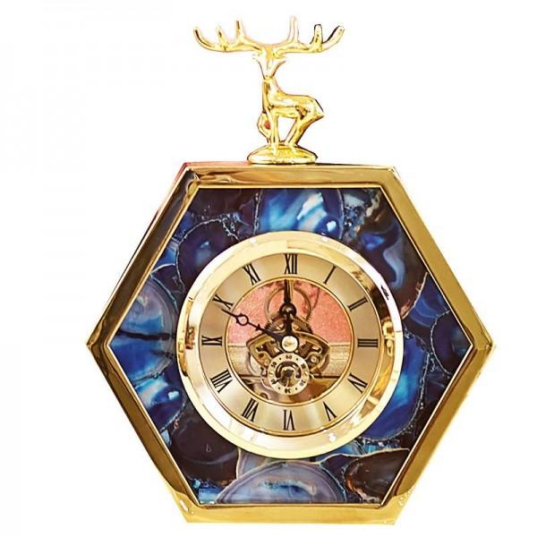 Light Luxury European Gold Side Blue Agate Pattern Deer Table Clock Home Wine Cabinet Bedside Decorations Clock Ornaments