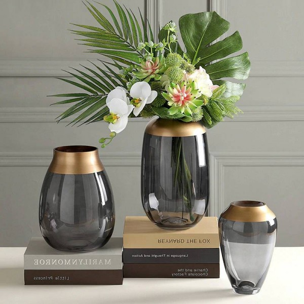 Light Luxury Glass Vase Hydroponic Transparent Flower Arrangement Decoration Living Room Table Decoration Vase Decoration