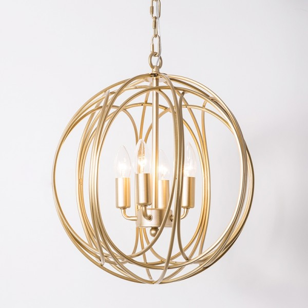 Luxurious Modern Chic Gold Sphere 4-Light Iron Orb Chain Suspended Chandelier