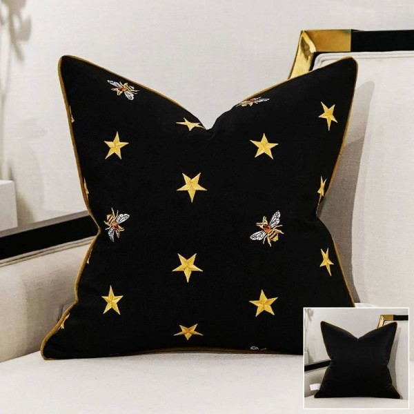 Luxury Bee Embroidery Cushion Cover Cushion Women For Home Black Gold Throw Pillows Covers Cojines Decorativos Para Sofa Coussin