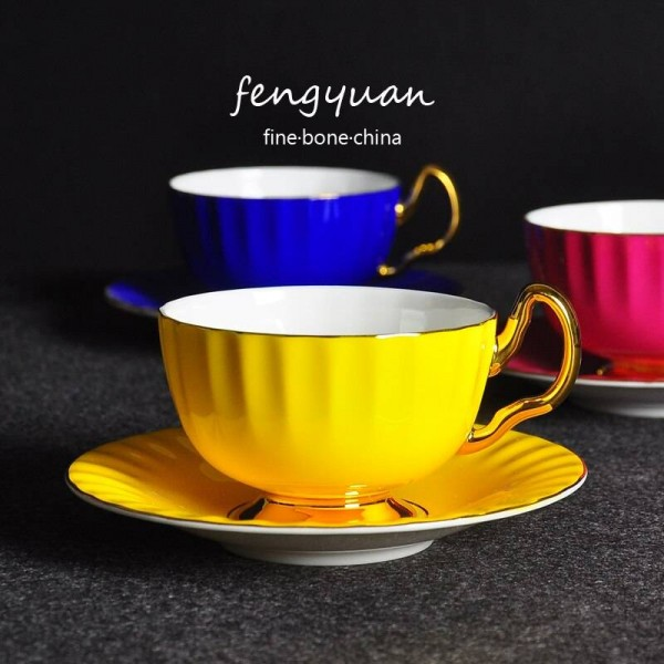 Luxury ceramic cup quality coffee cup and saucer set fashion english afternoon tea cups spoon