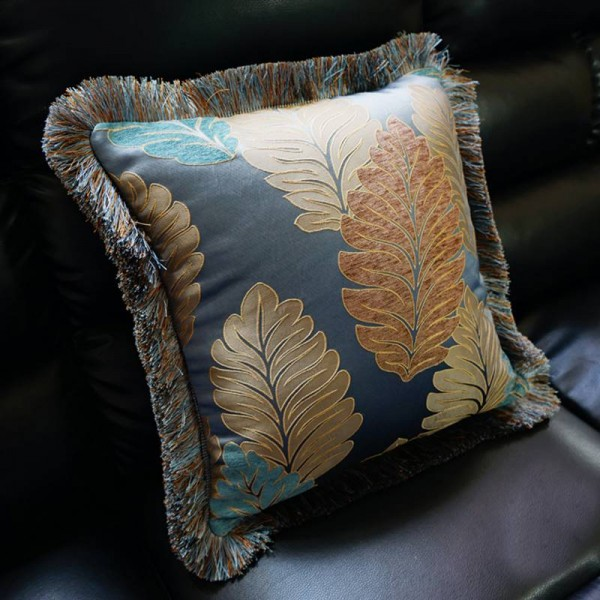 Luxury Europe Embroidered Fannel Fabric Home Bed Car Decor Cushion Cover Gift Tassel Noble Throw Pillowcase 1pc ,Not Filling