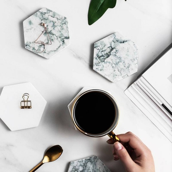Luxury Marble Coaster Ceramic home hexagonal Placemat Mats Pads for bowl Cup Wine Drink Coffee Mug Table Decoration non-slip mat