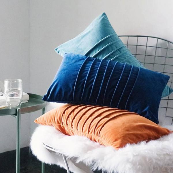 Luxury Velvet Cushion Cover Generous Stripes Decorative Pillows Case Almofadas Cojines Sofa Model Room Essential Car Covers