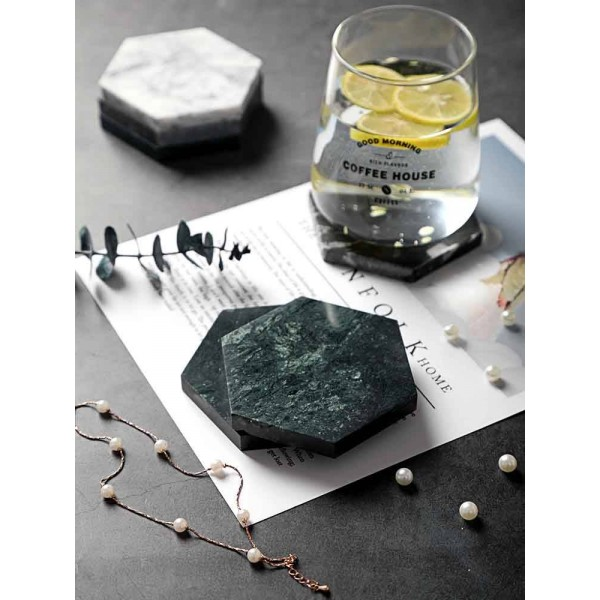 Marble Coaster Irregular Diamond Insulation Non-slip Coffee Cup Mat European Natural Marble Coasters