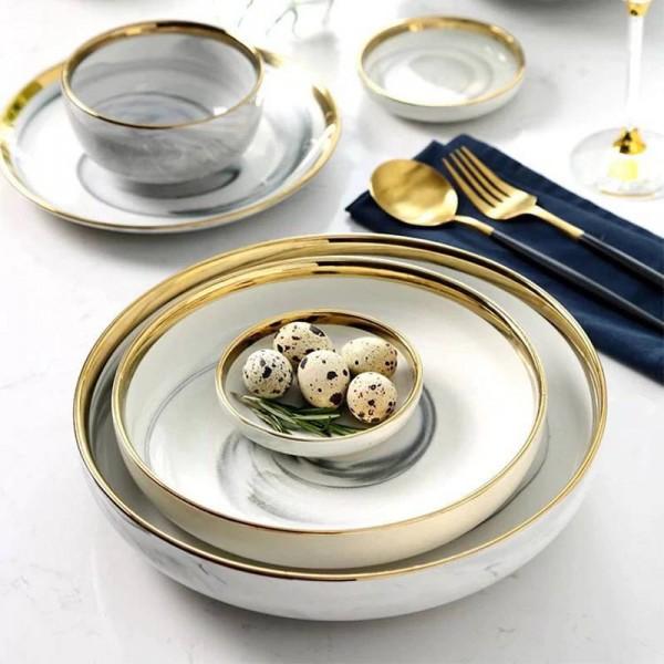 Marbled Phnom Penh Ceramic Western Tableware Set Rice Bowl Household Deep Soup Plate Dish Soup Bowl